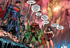 Justice League: Origin, team shot, Jim Lee