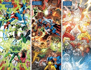Justice League #40, two-page spread, Dan Jurgens, Jerry Ordway, Scot Kolins