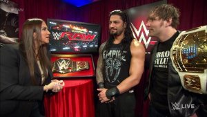 Stephanie McMahon, Roman Reigns, Dean Ambrose, WWE Raw, February 1, 2016