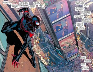 Civil War II #4, two-page spread, Spider-Man, David Marquez