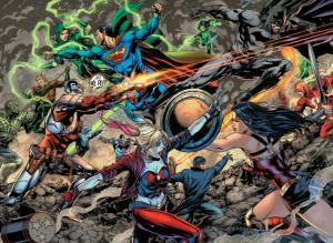 Justice League vs. Suicide Squad #1, two-page spread, Jason Fabok