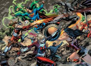 Justice League vs. Suicide Squad #1, two-page spread, Jason Fabok