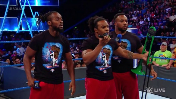 The Usos def. The Hype Bros. The New Day to challenge for the Smackdown Tag Titles at Battleground